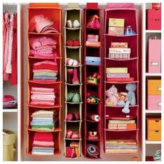 Eliminate the need for a space guzzling dresser that does nothing but collect junk anyway.  So doing this in their closet!  Each child could easily get one for clothes and share one for shoes/accessories in our home.  Have one extra for their linens/ soft toys etc.
