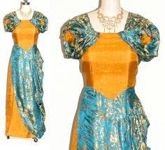 Vintage 1940s Dress, 40s Evening Dress, Turquoise and Gold Silk Draped Goddess Dress, XS - S