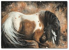 Majestic Horses 74  Abstract Native American Curly by AmyLynBihrle, $8.99