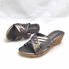 NWT Bartolini Pewter Steel Sandals .Made in Italy! These beautiful low wedge sandals shine in a gorgeous pewter color with cork bottom. Synthetic, medium width, and true to size. Bartolini Shoes Sandals