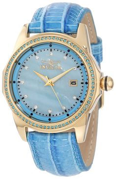 Invicta Women's 10345 Wildflower Blue Mother-Of-Pearl Dial Blue Crystal Accented Blue Leather Watch ** Click on the image for additional details.