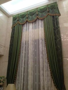 Beautiful design but the valance looks too small. Elegant Curtains, Beautiful Curtains, Modern Curtains, Tall Window Treatments, Window Coverings, Green Curtains, Drapes Curtains, Valances, Curtain Styles