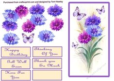 corn flower greetings by Terri Hawley This corn flower greetings 4 x 6 decoupage card front is so easy to make and has many reasons to… Corn Flower, Birthday Cards, Happy Birthday, 3d Sheets, Mushroom Art, Get Well Soon, Thank You Cards, Butterflies, Envelope