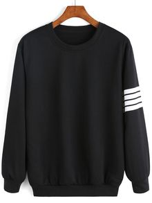 Round Neck Varsity-Striped Sweatshirt