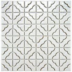 SomerTile Castle White Porcelain Mosaic Tile (Pack of 10)