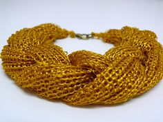 PARTY gold yellow knitted necklace di evahandmade su Etsy