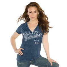 Touch by Alyssa Milano Seattle Seahawks Ladies Kickstart Slim Fit V-Neck T-Shirt - Navy Blue
