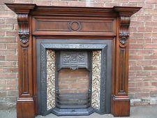 beautiful original Victorian tiled cast iron fireplace + solid oak fire surround
