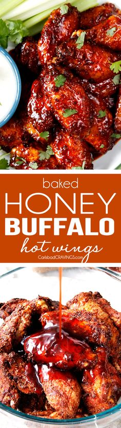 Honey Buffalo Hot Wings and Classic Buffalo Wings (Video!) Sticky Buffalo Honey Hot Wings – the BEST buffalo wings you will ever devour and as easy as tossing in a rub, baking and coating in an easy, tantalizing sauce. Buffalo Hot Wings Recipe, Kfc Hot Wings Recipe, Baked Buffalo Wings, Buffalo Shrimp, Turkey Recipes, Chicken Recipes, Thai Recipes, Shrimp Recipes, Hot Wing Sauces