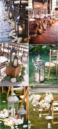 rustic lantern wedding aisle decor ideas / http://www.deerpearlflowers.com/lanterns-wedding-aisle-decor-ideas/