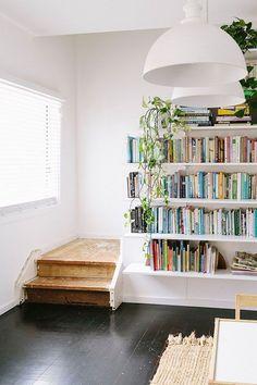 DIY Shelves Ideas : turn a stairwell wall into a bookshelf