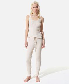 Flocked ribbed pants, null£ - null - Find more trends in women fashion at Oysho . Sleepwear & Loungewear, Jumpsuits For Women, Spring, Beachwear, Lounge Wear, Active Wear, Sportswear, Backless, T Shirt