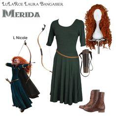 """LuLaRoe DisneyBounding Merida"" Brave inspired Halloween costume by LuLaRoeLauraBangasser. All non LuLaRoe accessories were found on Amazon."