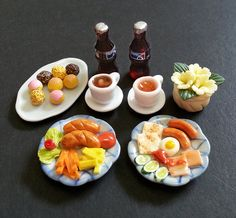 1:12 scale Dollhouse Miniature Sausage Set Meal, Cafe, Breakfast, Lunch, Mini Donuts, Pastry, party, Mini Blythe, Dolls fake food, plate cup on Etsy, $21.88 AUD