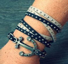 Black and Silver Anchor Wrap Stackable by FindingLifeDesigns
