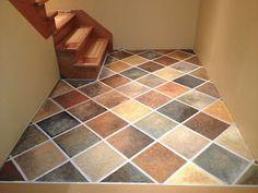 Hand painted Faux Slate Tile Floor  on Concrete basement Floor