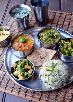 An Ayurvedic Meal (Thali) by Cook's Hideout Sprouts Salad Tomato Dal Ivy gourd curry Green Peas Curry Basic Pulao Carrot Kheer Roti Buttermilk
