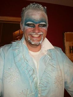 Jack Frost Halloween Costume: This costume won my brothers friend an all expenses trip to Las Vegas with spending money and was really easy to make. Cheap white suit spray painted with blue fabric paint. Icicle garland hot glued to lapels, hanging out of pockets. Theres a silver JF on the back. The rest is makeup.
