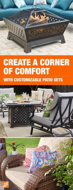 Cozy up in your custom patio set. Select the pieces, color and fabric of your choice to create the ultimate outdoor space for relaxation, conversation and memory-making. Customize yours at The Home Depot. Outdoor Rooms, Outdoor Living, Outdoor Furniture Sets, Outdoor Decor, Dining Furniture, Furniture Depot, Furniture Ideas, Backyard Projects, Backyard Patio