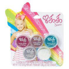 <P>JoJo Siwa loves getting glittered for her dance shows! This pack contains 5 different colored glitter pots filled with the brightest sparkly glitter! Choose between white, silver, teal, purple or pink!</P><P><STRONG>Glitter Pots</STRONG> by <STRONG>JoJo Siwa©</STRONG></P><UL><LI>5 pack</LI><L...