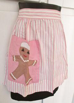 vintage pink gingerbread apron by vintagegoodies on Etsy, $14.00