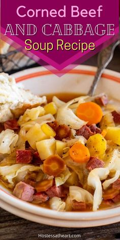 Corned Beef and Cabbage Soup is an easy recipe, loaded with fresh cabbage, carrots, and potatoes. A deliciously warm bowl of soup is the perfect way to use leftover corned beef. Corn Beef And Cabbage Soup, Cabbage Soup Recipes, Bowl Of Soup, Corned Beef, Carrots, Soups, Main Dishes, Salads, Easy Meals