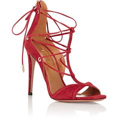 Aquazzura Women's Cayenne Sandals (€320) ❤ liked on Polyvore featuring shoes, sandals, lace up sandals, lace up high heel sandals, open toe shoes, leather lace up sandals and aquazzura shoes