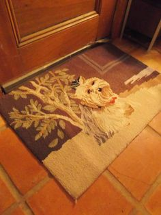 Vintage Wool Hooked Area Rug Terrier Dog Primitive Folk Art Hand Made Door Mat
