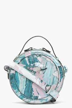 CARVEN Teal Patent Leather Marbled Round Shoulder Bag for women | SSENSE
