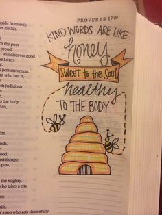 Kind words are like honey, sweet to the soul and healthy to the body | Bible Journal