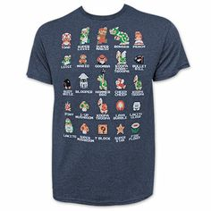 Nintendo Mario Characters Pixelated Navy Blue Tee Shirt