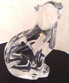 Waterford Crystal Cat Looking Up 5 Inches Label   #WaterfordCrystal