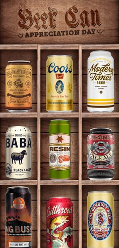 Time to enjoy some fine package design on Beer Can Appreciation Day. #fonts #typography #Fontspiration
