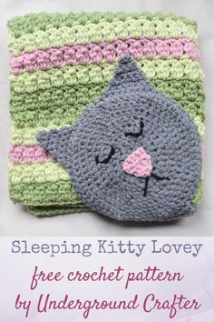 """Sleeping Kitty Lovey ~ easy level ~ finished size 17""""W x 18.5""""L; 17""""W x 26""""L with cat head attached ~ FRE - CROCHET"""