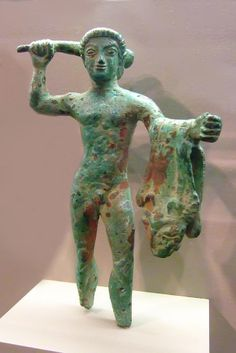 Early Depiction of Herakles with club and lion skin Etruscan 500-400 BCE Bronze