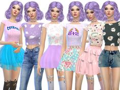 6 more kawaii crop tops!  Found in TSR Category 'Sims 4 Female Everyday'