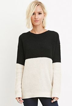 Colorblocked Waffle Knit Sweater | Forever 21 - 2000172337
