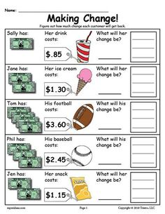 - Cheers with Charlotte - Printable Making Change Money Worksheets - 2 Versions! Money Activities with Kids Making Change Worksheets, Counting Money Worksheets, 2nd Grade Worksheets, Worksheets For Kids, Printable Worksheets, Free Printable, Counting Money Games, Money Math Games, Money Games For Kids