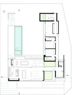 Image 4 of 37 from gallery of BT House / Estudio Jorgelina Tortorici Arq. Photograph by Alejandro Peral Modern House Plans, Modern House Design, House Floor Plans, Architecture Plan, Residential Architecture, Single Storey House Plans, Architectural Floor Plans, Narrow House, Modern Architects