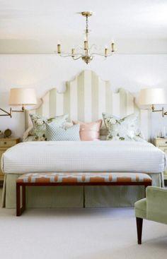 Sarah Richardson - Mix of fabrics and upholstered headboard