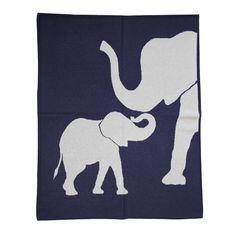 Lucky Jade Navy Elephant Blanket, $100