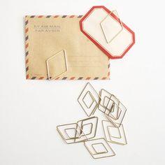 Gold diamond paper clips   ohhellofriend.com