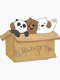 'We bare bears' Sticker by AliceSpy Cute Panda Wallpaper, Cartoon Wallpaper Iphone, Bear Wallpaper, Cute Cartoon Wallpapers, Kawaii Wallpaper, Panda Wallpapers, Cute Disney Wallpaper, Ice Bear We Bare Bears, We Bear