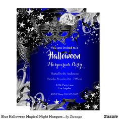 Shop Blue Sparkle Magical Night Masquerade Party Invite created by Zizzago. Personalize it with photos & text or purchase as is! Masquerade Party Invitations, Masquerade Party Decorations, 21st Birthday Invitations, Quinceanera Invitations, Quinceanera Party, Halloween Invitations, Wedding Invitations, Sweet Sixteen Invitations, Zazzle Invitations