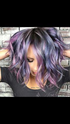 Purple blue gray color melt #colormelt #ombre #purplehair