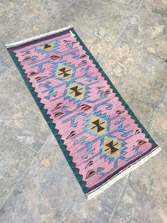 Pink Table Decor, Pink Home Decor, Small Rug, Kilim Rug, Door Mat Rug, Bath Rugs, Etry Decor, Bohemian Decor, Bethroom Rugs, 1'4'x2'9' feet by RuginRugs on Etsy Pink Table Decorations, Star Rug, Fluffy Rug, Pink Home Decor, Pink Rug, Small Rugs, Bath Rugs, Bohemian Decor, Outdoor Rugs