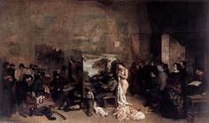 'der studio von dem maler', öl auf leinwand von Gustave Courbet (1819-1877, France)