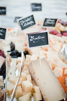 Cheese bar with chalkboard sign labels. Photography by capturedbyjen.com,