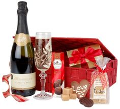 The Valentines Gift Basket is packaged in this wonderful red basket. I would love to receive this for Valentines Day, bubbles and chocolate is a winner in my book!  #LoveSpicers
