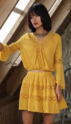 Fashiontroy  Holiday collection beachwear bohemian long sleeves V-neck yellow flared cuffs geometry top+mini skirt set spring summer